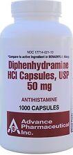 Diphenhydramine 50 mg Allergy Medicine Generic Benadryl 1000 Capsules Bottle