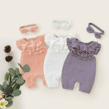 Newborn Baby Kids Girls Solid Sleeveless Jumpsuit Romper+Headband Clothes Outfit
