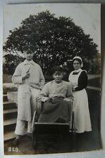1.WK Lazarett Versehrten Postkarte Rollstuhl Schwestern Verwundung Schefczik