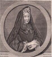 Portrait XVIIIe Madame Guyon Jeanne Marie Bouvier La Mothe Guion Mystique 1786