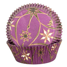 Purple Cupcake Cases with Gold and Black Star Design x60 Baking Muffin