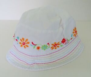 NWOT Baby/Toddler 3T Girls Sun Hat White Embroidered Flowers Chin Strap #8