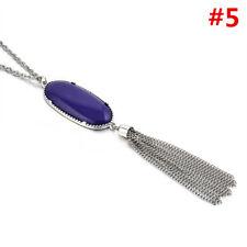 Women's Charm Druzy Stone Enamel Feather Beads Long Tassel Pendent Necklace JT