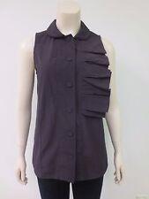 MARNI Raisin Cotton Nylon Origami Pleated Sleeveless Blouse Shirt Top Sz 40, EUC