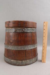 Antique Early Primitive Coopered Oak Flour Bin Firkin Pantry Box, NR