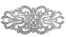 Wide Vintage Style Dress Wedding Decoration Flower Brooch Pin Rhinestones Silver