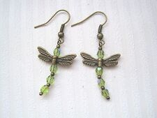 OLIVE GREEN OLIVINE DRAGONFLY Czech Glass Beaded Bronze Earrings Vintage style