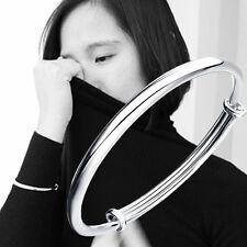 925 Sterling Silver Plated Women Jewelry Adjustable Hoop Bangle Bracelet Gifts