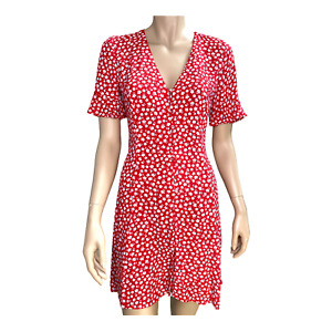 SPORTSGIRL Dress sz 8 XS Red Floral Sundress Short Sleeve Short Mini .I19