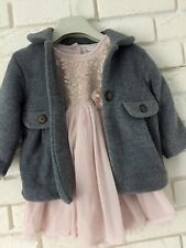 Next Small Bundle Outfit Pink Tulle Dress And Grey Fleece Coat Age 12-18 Months
