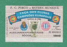 Orig.Ticket   EC 1   1990/91   FC PORTO - BAYERN MÜNCHEN  1/4 Finale  !!  SELTEN