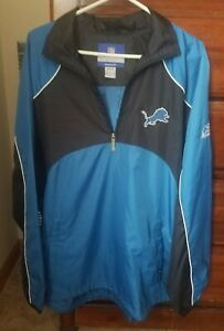 Detroit Lions Medium Half-zip Windbreaker Jacket Official ON FIELD Reebok - NEW!