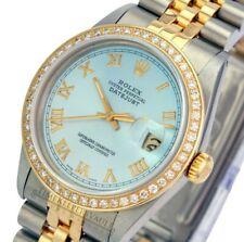 Rolex Mens Datejust 16013 Two-tone 36mm Ice Blue Dial Diamond Bezel Watch-Quick