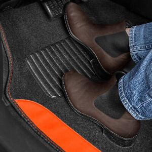Orange 2-Tone Carpet Heavy Duty Universal Car Floor Mats for Auto Van Truck SUV