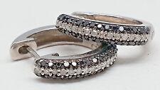 10K White Gold 1 Ct Black & White Natural Diamond Oval Hinged Hoop Earrings New