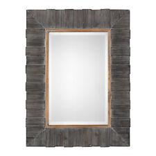 "Rustic Charcoal Gray Wood Mosaic Wall Mirror | 40"" Vanity Lodge Gold Weathered"