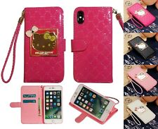 Hello Kitty Mirror Stand Wallet Case W Card Slots Pocket & Straps For iPhone X