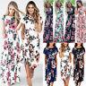 UK Womens Swing Party Holiday Summer Elastic Waist Floral Maxi Long Midi Dress