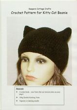 CROCHET PATTERN / INSTRUCTION LEAFLET to make KITTY CAT EARS BEANIE HAT, Ref.10K
