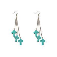 New Fashion Women's Lady Girls Cross Style Turquoise Long Dangle Stud Earrings