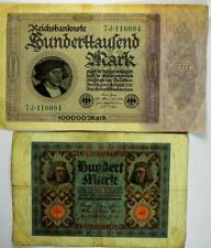 1920 Hundert (100) Mark & 1923 (100,000) Huderttaulend Mark Reichsbanknote, #A21