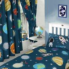 """SOLAR SYSTEM SPACE PLANETS 66"""" x 54"""" LINED CURTAINS WITH TIE BACKS CHILDRENS"""