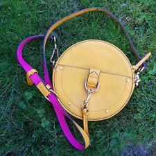 Accessorize Mustard Handbag Shoulder Bag Cross Body Hot Pink Round Zip Up
