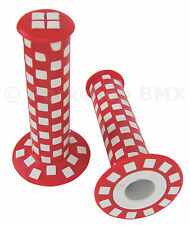 Old school BMX bicycle checkerboard grips - 125mm - RED and WHITE