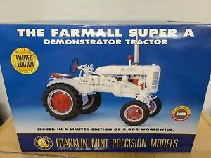 Farmall Super A Demonstrator Tractor White Franklin Mint 1:12 Scale Model NIB