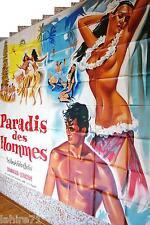 PARADIS DES HOMMES polynesie ! iles polynesiennes affiche geante 320X240CM 1955