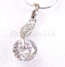 Women New Necklace Pendant Chain Clear Love CZ Cubic Crystal White Gold Plated