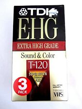 3 Pack TDK T-120 VHS Blank Tapes Extra High Grade E-HG New Sealed