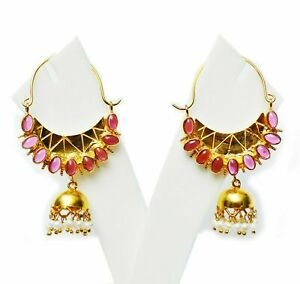 Antique Silver Gold Plated Ruby&Pearl Handmade Earrings /silver Jewelry For Her
