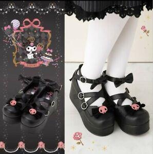 KUROMI Lolita Princess Round Toe Shoes Bowknot Thick TPR Sole Women Cosplay Shoe
