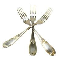 Antique ERCUIS SILVER-PLATE FLATWARE Lot; 3 LUNCHEON/DINNER FORKS Wave Pattern