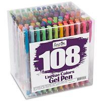 Lineon Gel Pens 108 Colours Gel Pen Set for Adult Colouring Books Art Markers