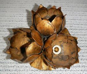 antik Deckenleuchte Messing 3 Blumen Fassung Simon evtl. Frankreich