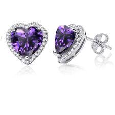 9d2186e7296d Amatista Diamante Sintético Halo Corazón Pendientes Broche Plata Ley