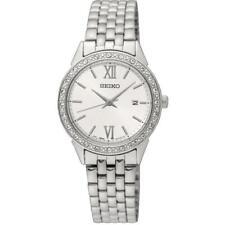 Seiko SUR695P1 Ladies Swarovski Crystal Silver Dial Date Dress Watch RRP £230