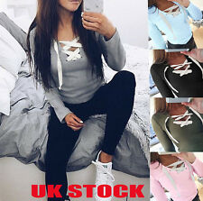 UK Fashion Womens Lace Up Tops Ladies Casual Long Sleeve T Shirt Tops Blouses
