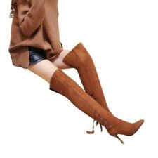 Sexy Women Lace Ups Tassels Pointy Toe Stilettos Over The Knee Boots 41 42 43 D