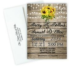 100 Sunflower Wedding Invitations Rustic Personalized With Envelopes and RSVP