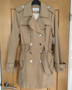 BNWT Ladies CALVIN KLEIN Double Breasted Trench Coat Jacket Small S Beige