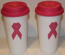 New (2) Breast Cancer Awareness Pink Tumbler Cup / Travel Mug