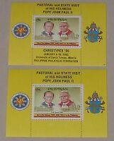 set of 2 1995 POPE JOHN PAUL 11 2S/S Christypex PHILIPPINES POLAND stamp