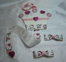 Hello Kitty a forma di Corona Capelli Bow & Clip Holder Hanger con nastro 1 & 2 Fiocchi