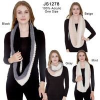 Women's Winter Warm Super Soft Tri-Tone Infinity Scarf Circle Loop Scarf