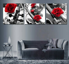 Handmade 3 Piece Black White Red Wall Art Oil Paintings On Canvas (No Frame)