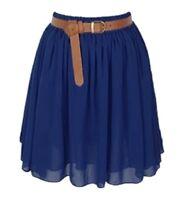 Lady Women Chiffon Mini Skirts Pleated Retro High Waist Double Layer | 25 Colors