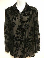 $395 THEORY Womens BLACK SILK TOP LONG SLEEVE LINED FLORAL BUTTON DOWN BLOUSE 8